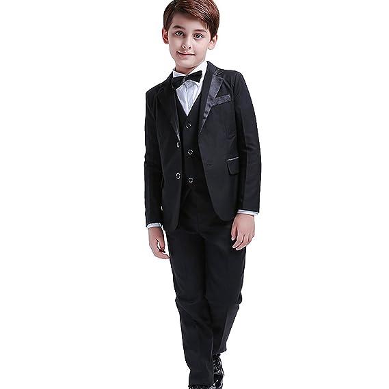 0ec55e956000b5 5 Stück Jungen Formelle Blazer Kinder Smoking Shirt Weste Hochzeit Anzug  Schwarz  Amazon.de  Bekleidung