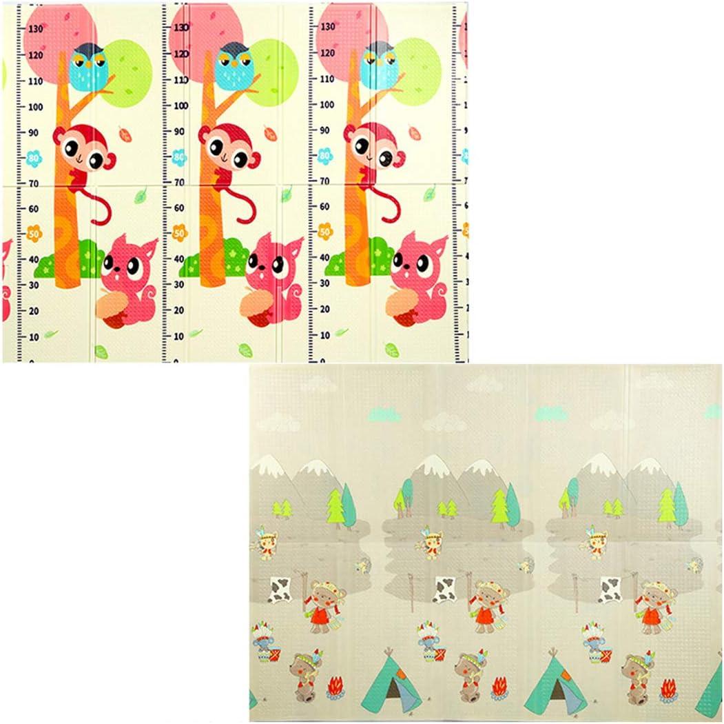 Sunbary Tapis de Jeu pour B/éb/é 200 x 150 x 1cm Tapis d/Éveil Pliable en Mousse XPE Imperm/éable Non Toxique Ramper Tapis