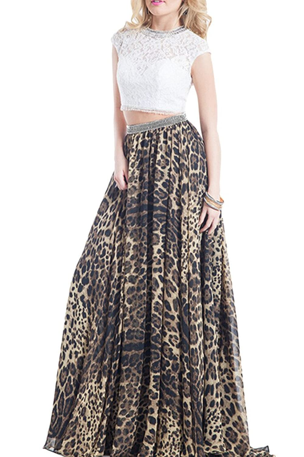OKDRESS Two Piece Leopard Print Lace Chiffon Maxi Evening Party Dress Prom Gown