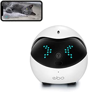 Enabot Ebo Remotely Moving Security Robot, IP Camera, Smart Pet Camera, Interactive Smart Robot, Pet Monitor, Security Camera, Petpal, Two Way Audio & WiFi Full HD & Full-Room View & Live Video