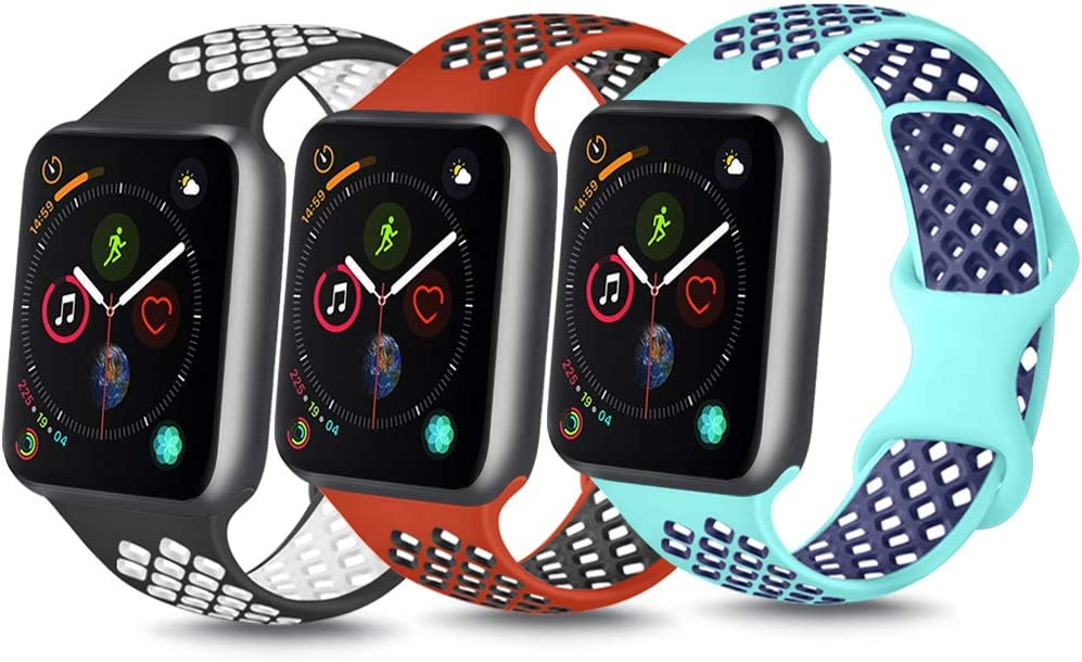 YILED [Pack 3] Bands Compatible with Apple Watch Band 38mm 40mm 42mm 44mm, Soft Silicone Replacement Band for iWatch Series 6 5 4 3 2 1 SE (Turquoise/Red back/Black white, 38mm/40mm S/M)