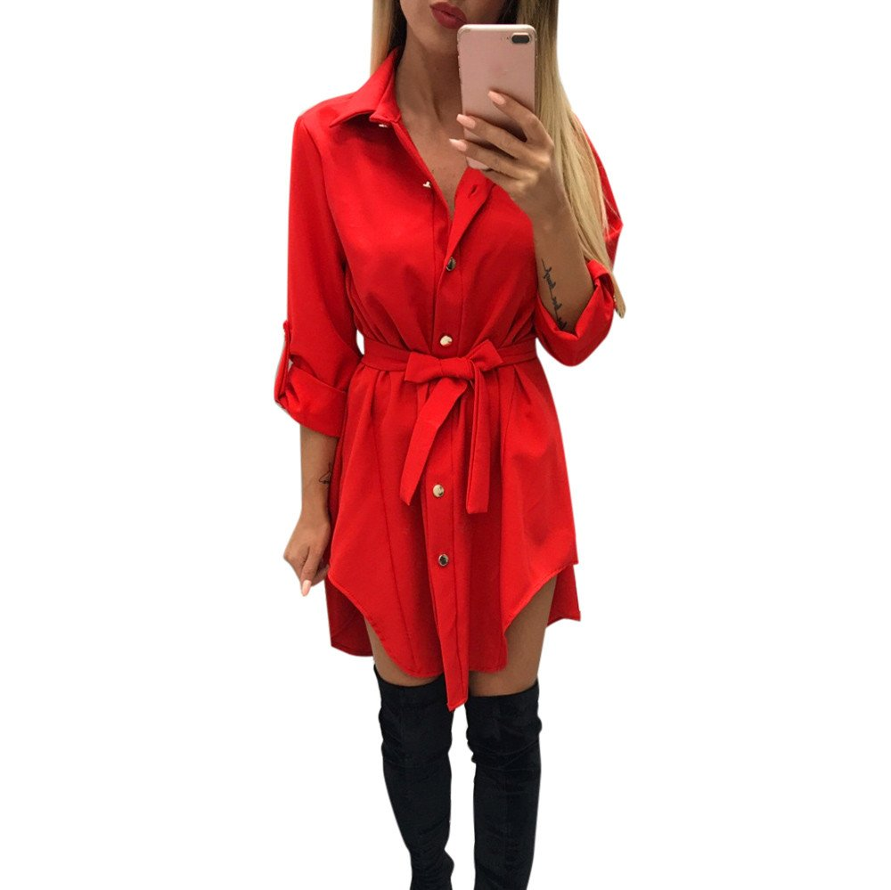 JESPER Women Casual Long Sleeve O Neck Solid Evening Party Maxi Dress Red
