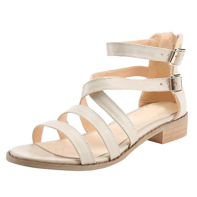 1a63e0b972849d JJLIKER Women Gladiator Crisscross Strappy Flat Sandals Ankle Buckle Strap  Summer Low Heel Shoes with Zipper