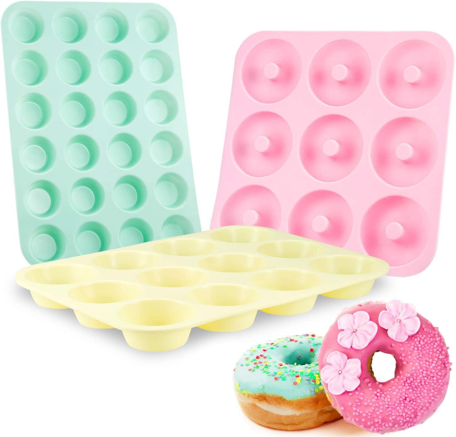 Senbowe Silicone Muffin and Cupcake Pans – Set of 3 | Silicone Cake Baking Molds | Large (12) and Mini (24) |Medium Doughnut (9) | Easy to Clean Non Stick Bakeware | BPA Free and Dishwasher Safe