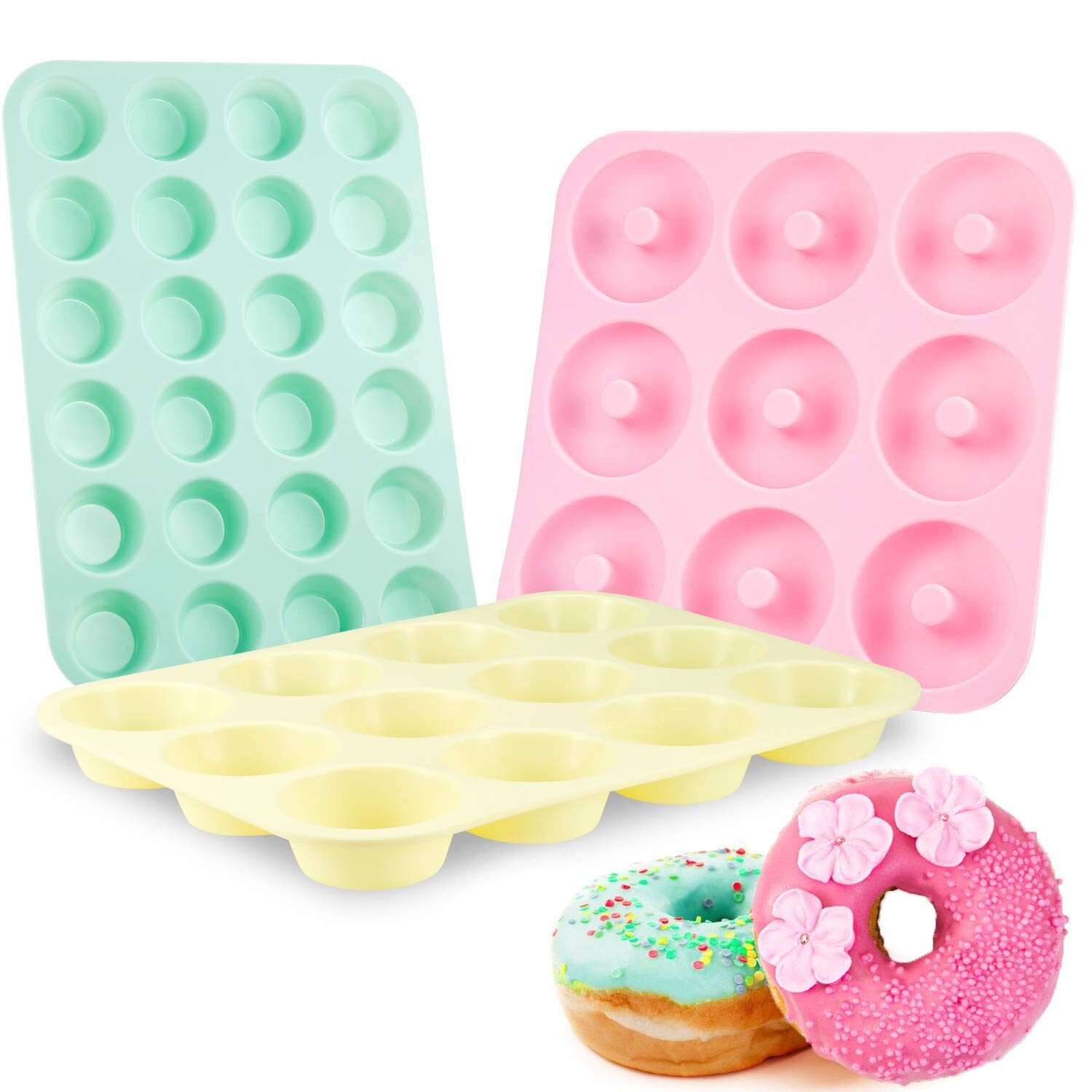Senbowe Silicone Muffin and Cupcake Pans - Set of 3 | Silicone Cake Baking Molds | Large (12) and Mini (24) |Medium Doughnut (9) | Easy to Clean Non Stick Bakeware | BPA Free and Dishwasher Safe by senbowe