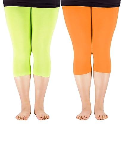 134b2f41c3aa1 Zando Women 3 4 Length Cotton Elastic Seamless Slim Capri Basic Cropped  Leggings Plus Size