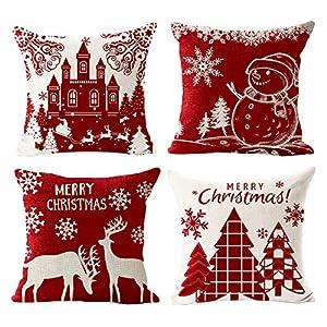 Gspirit 4 Pack Cuscini Divano Pupazzo di Neve di Natale Alce Cotone Biancheria Decorativo Copricuscini Divano 45x45 cm 2 spesavip