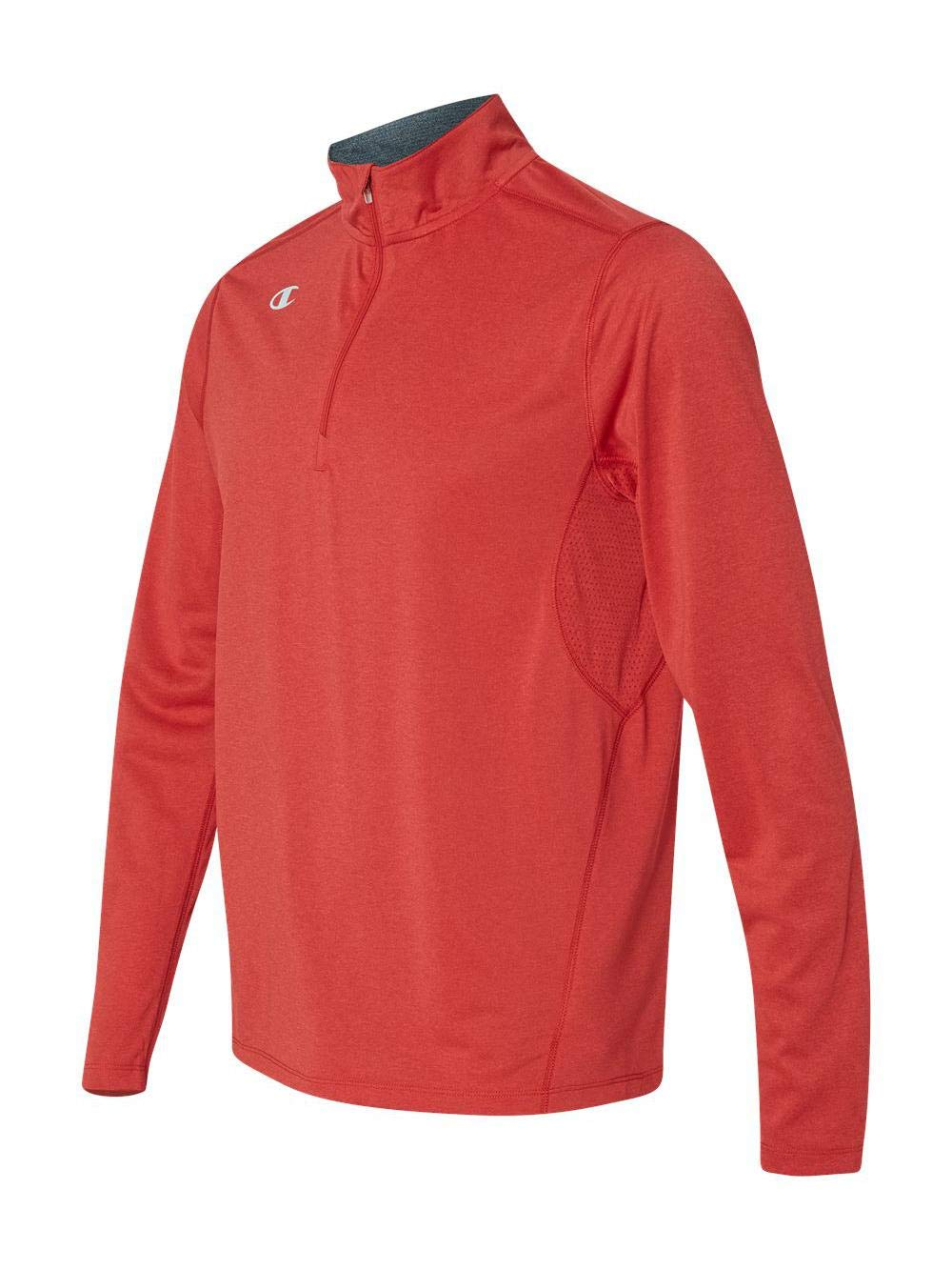 Champion Men's Quarter-Zip Double Dry Pullover, Scarlet Heather, Small by Champion