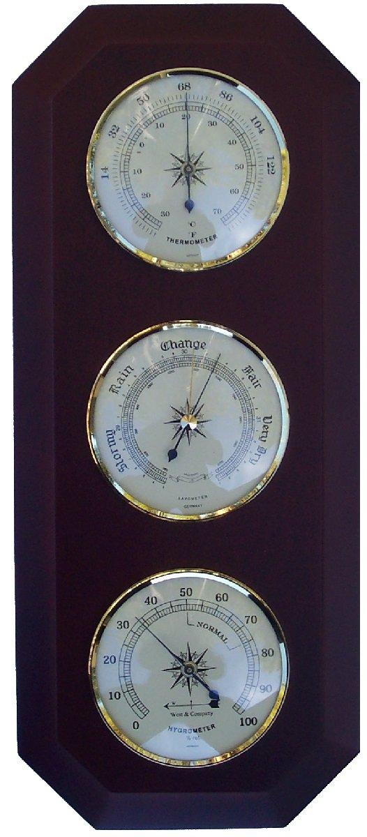 17'' Thermometer-Barometer-Hygrometer - Cherry - 0-3,000ft