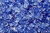 OCEAN BLUE Multi-Purpose Premium Decor & Fire Glass Rock 2-pound 1/4''-1/2'' inch - For Use In Fire Features, Aquariums, Apothecary, Jars, Vase, Potted Plants, Fire Bowls, Etc.