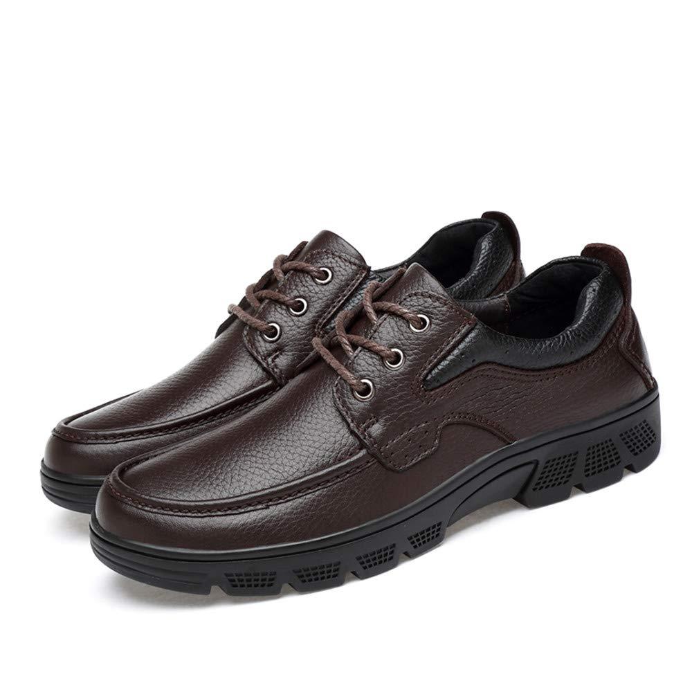 Men's Fashion Oxford Casual Soft Aseismatic Light Belt Outsole Formal shoes(Warm Velvet Optional) (color   Brown, Size   10.5 UK)