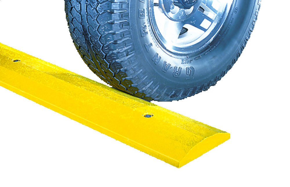 Checkers SB6S-S Recycled Plastic Standard 6' Speed Bump with Hardware, Yellow, 72'' Length x 10'' Width x 2'' Height