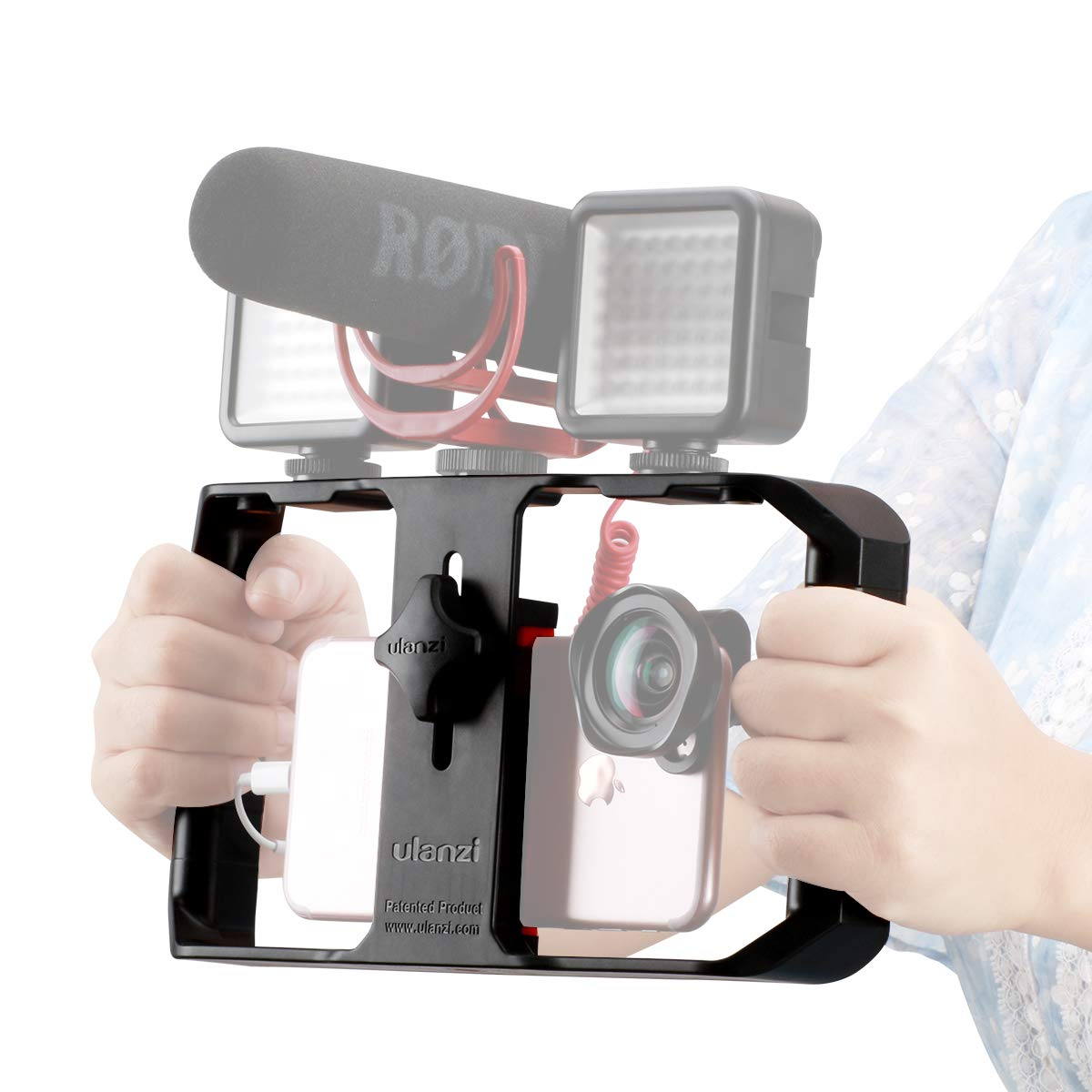 Ulanzi U Rig Pro Smartphone Video Rig, Video Stabilizer w 1/4 inch Screw Triple Cold Shoe Mount Compatible for iPhone Xs Max X 8 7 6 plus OnePlus 7 Pro Samsung Vlogging Used On Microphone Video Light by ULANZI