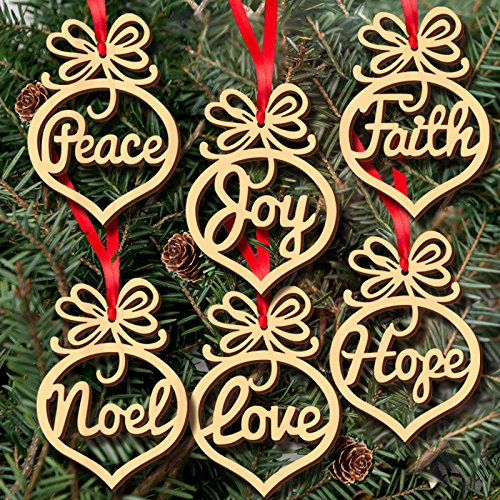 Peace Laser - 6-Pack Peace Love Joy Faith Hope Noel Unfinished Wood DIY Craft Tree Ornaments with Red Ribbons Laser-Cut