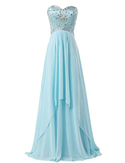 Fanciest Womens Beaded Chiffon Long Prom Dresses Evening Formal Gowns Blue UK6