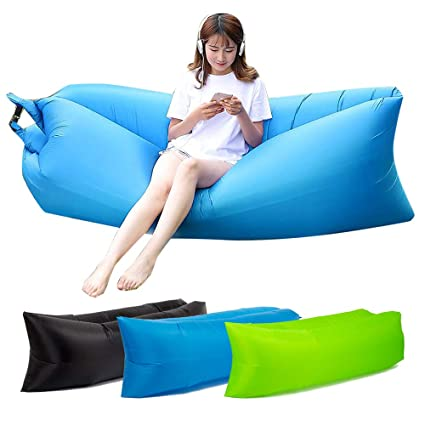 Strange Amazon Com Inflatable Lounger Air Lounger Couch Chair Lazy Caraccident5 Cool Chair Designs And Ideas Caraccident5Info