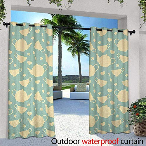 "Tim1Beve Indoor/Outdoor Curtains Tea Tea Cup and Teapot Elements in Nostalgic British English Tradition Print for Porch&Beach&Patio 108"" W x 72"" L Light Yellow Turquoise"