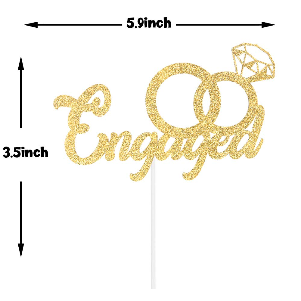 Engagement Cake Decoration Wedding//Engagement//Bridal Shower Party Decoration Supplies Gold Glitter Engaged Cake Topper