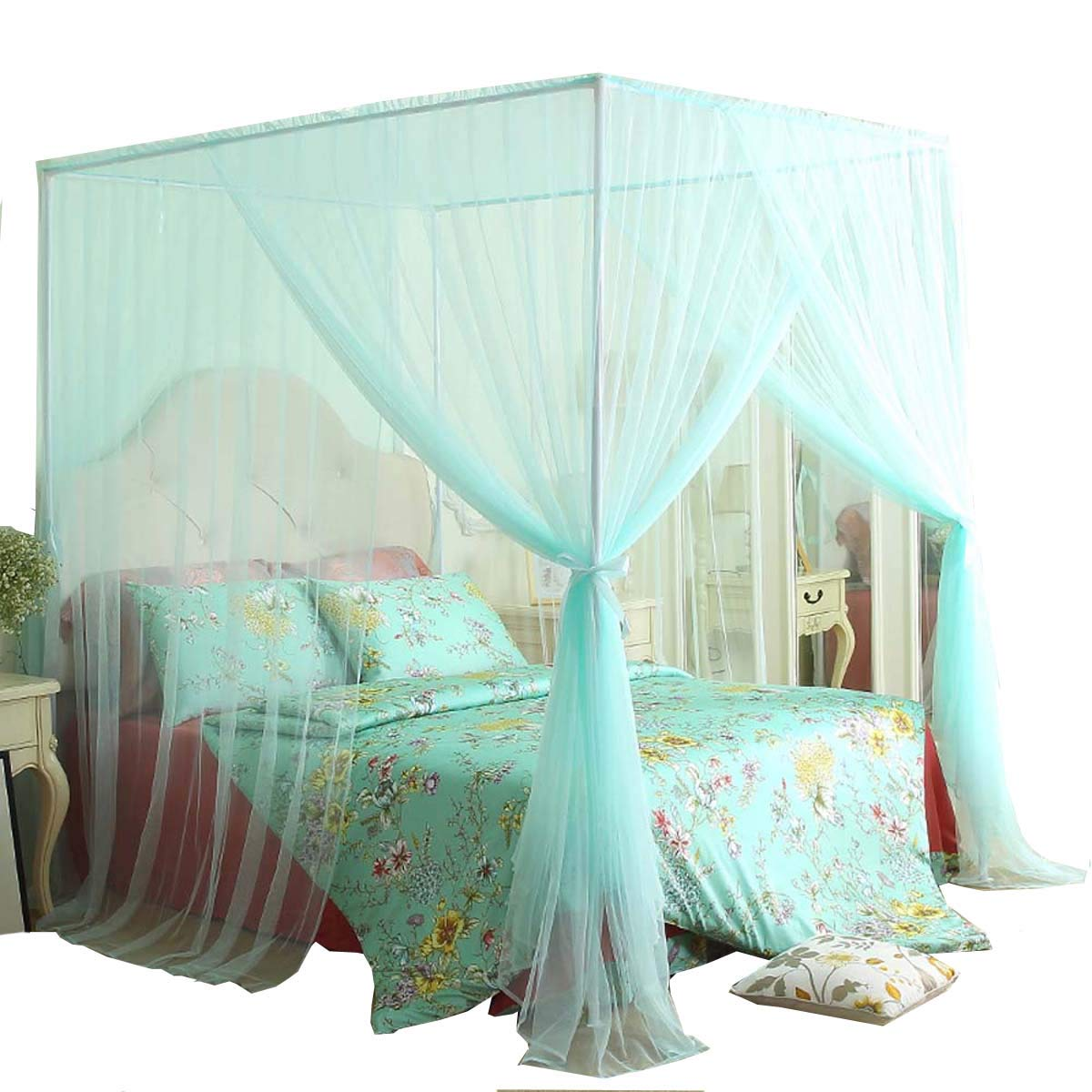 Mengersi 4 Corner Bed Canopy Curtain Mosquito Net Bed Frame Draperies (California King, Light Green)