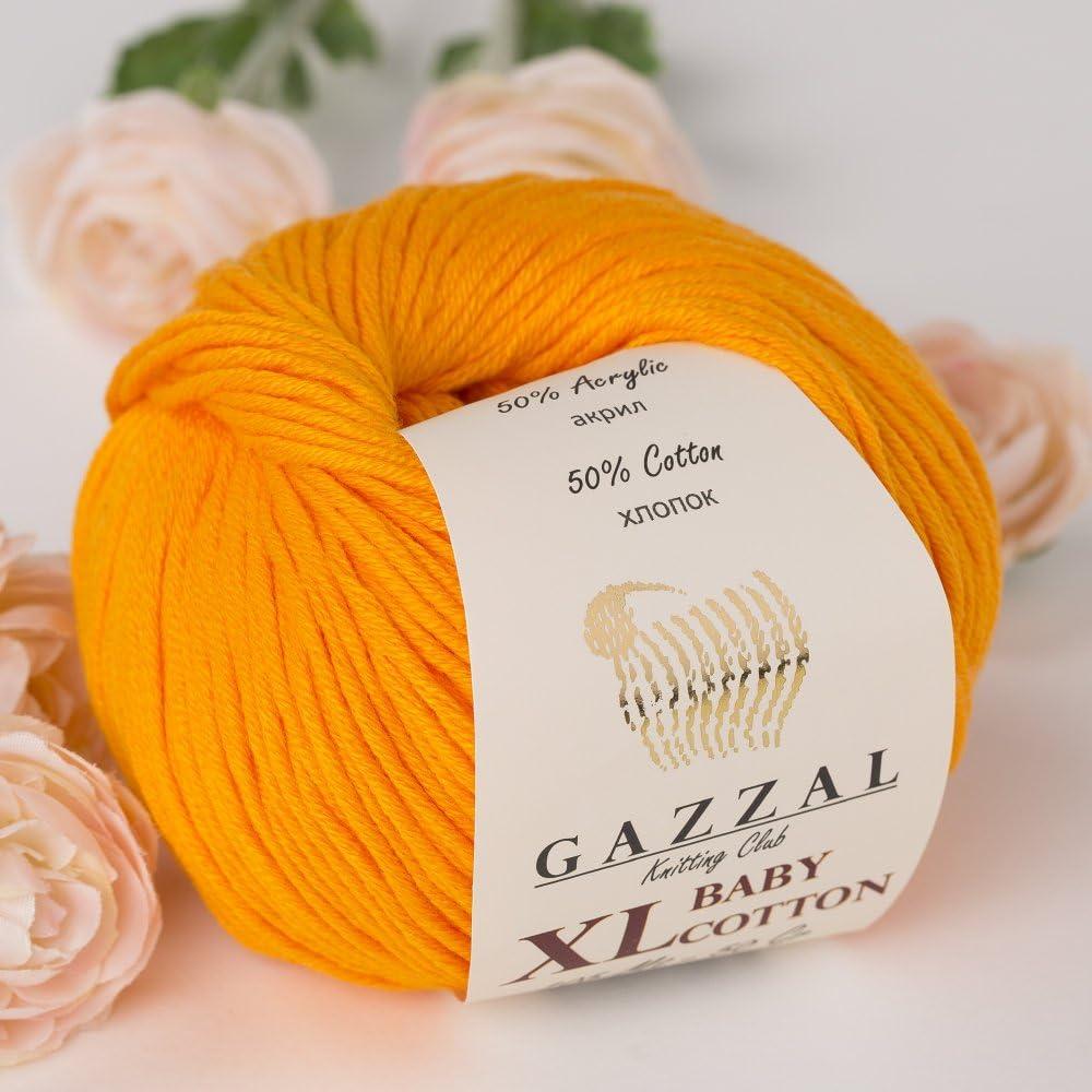 Super Soft Each Ball 1.76 Oz 225m Beige 50g 3 Pack 3424 Gazzal Baby Cotton XL Total 5.28 Oz // 344 Yrds // 246 Yrds 50/% Turkish Cotton DK- Worsted Baby Yarn Ball