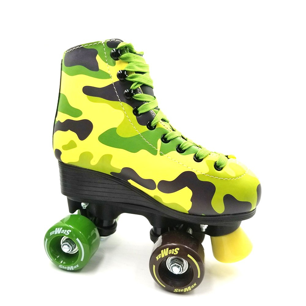 Stemax Quad Roller Skates for Girls & Boys, Men & Women. Outdoor Classic High Cuff Quad Skates with Lace System (Camouflage, 36)