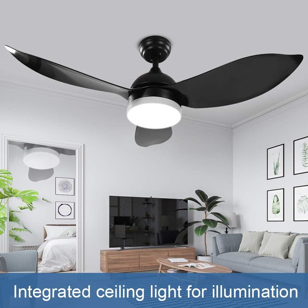 Greensen 48  Deckenventilator mit Beleuchtung Fl/ügel Deckenventilator LED-Licht mit Fernbedienung schwarz