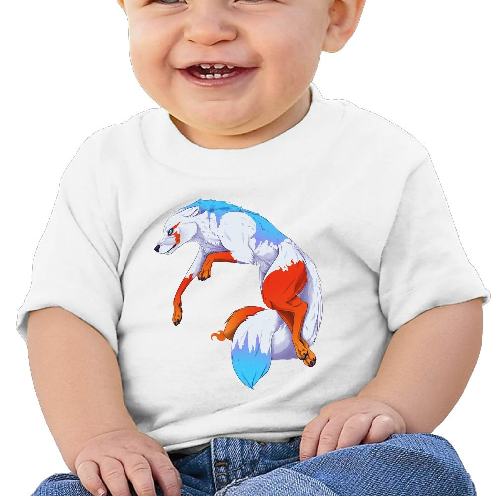 Colorful Wolf Baby Boy Clothes Short Sleeve Graphic Toddler T Shirt Boys Girls 6-24 Month