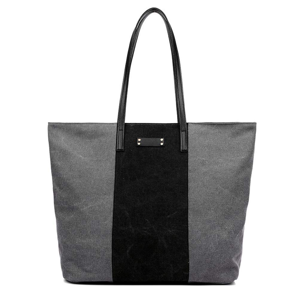 WHXYAA Canvas Bag Shoulder Bag Tote Bag Ladies Commuting Large-Capacity Shopping Bag (Grey) Simple Atmosphere