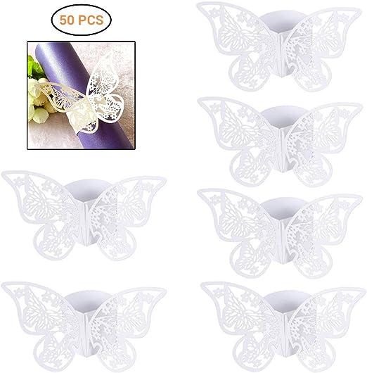 Hihey Servilletero Mariposa Papel Blanco Decoración de Mesa Boda ...