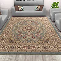 Sweet Home Stores Medallion Design Non-Slip Rubber Backing Area Rug, 50 X 66, Seafoam