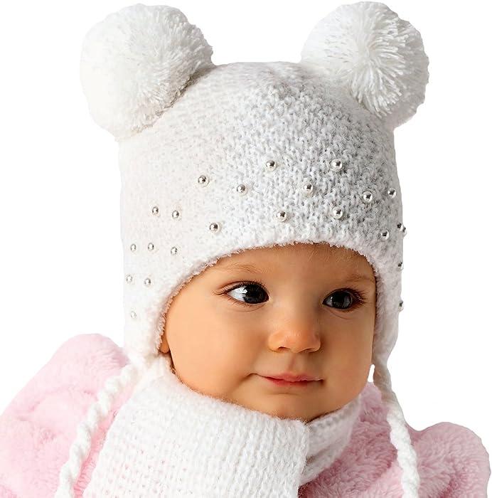 882edec70a AJS Baby Mädchen Winterset Mütze Bommel Schal mit Wolle gefüttert Weiß