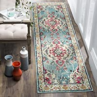 Safavieh Monaco Collection MNC243J Vintage Bohemian Light Blue and Fuchsia Pink Distressed Runner (22 x 10)