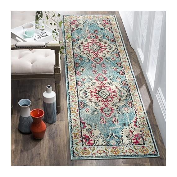 "Safavieh Monaco Collection MNC243J Boho Chic Medallion Distressed Runner, 2' 2"" x 8', Light Blue/Fuchsia - Safavieh's Monaco Vintage Boho Medallion rug with 650+ customer reviews Vintage distressed design with a stunning oversized medallion adds a fashion-forward flair to décor Stylishly versatile, this rug works in the bedroom, living room, playroom, foyer, or dining room - runner-rugs, entryway-furniture-decor, entryway-laundry-room - 61 DQV5KCVL. SS570  -"