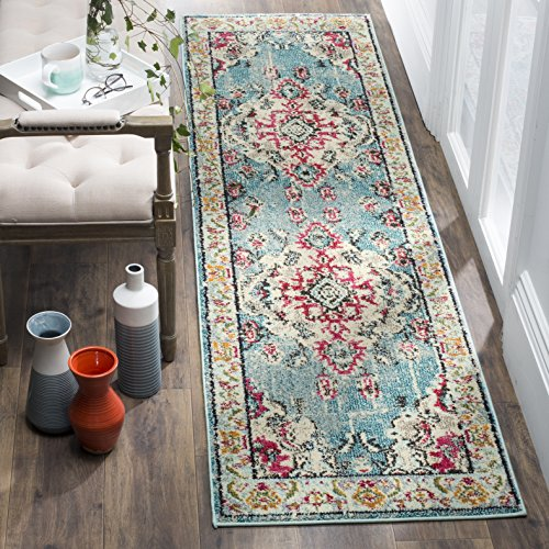 "61 DQV5KCVL - Safavieh Monaco Collection MNC243J Vintage Bohemian Light Blue and Fuchsia Distressed Runner (2'2"" x 6')"