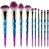 Pinceau Maquillage BZLine, 10Pcs Pinceaux Spirale Professionnel & Brush Cosmétique pour les Poudres, Anticernes, Contours, Fonds de Teints, Mélanges et Eyeliner - Coloré