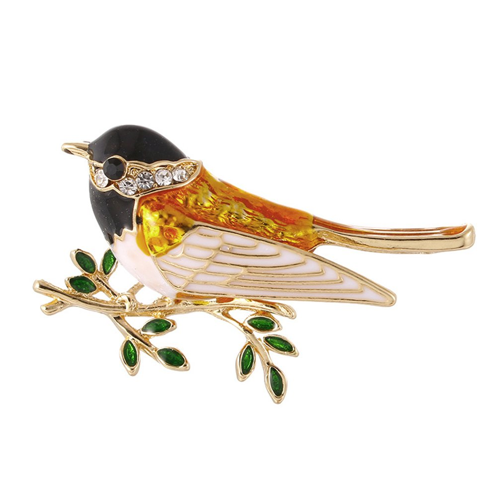 Cute Enamel Crystals Birds Brooch Collar Corsage Pin for Women Shirt Accessories MINGHUA