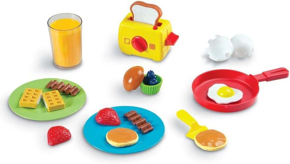 Learning Resources Pretend & Play Rise & Shine Breakfast Play Food, 21 Piece Set, Ages 3+, Multicolor
