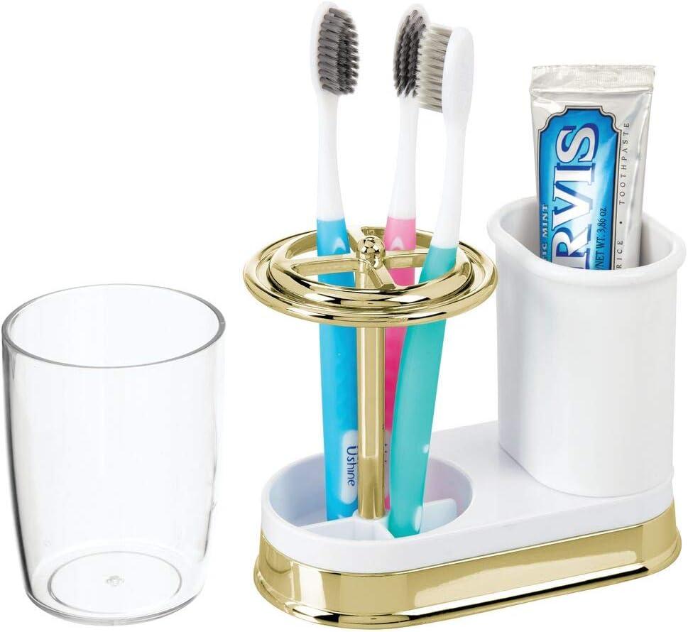 mDesign Portacepillos con vaso para enjuague bucal crema y bronce Soporte para cepillos de dientes y pasta dental hecho de pl/ástico Vaso para cepillo de dientes de alta calidad con tapa