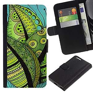For Apple iPhone 6 Plus(5.5 inches),S-type® Contrast Drawing Leaves Teal Green - Dibujo PU billetera de cuero Funda Case Caso de la piel de la bolsa protectora
