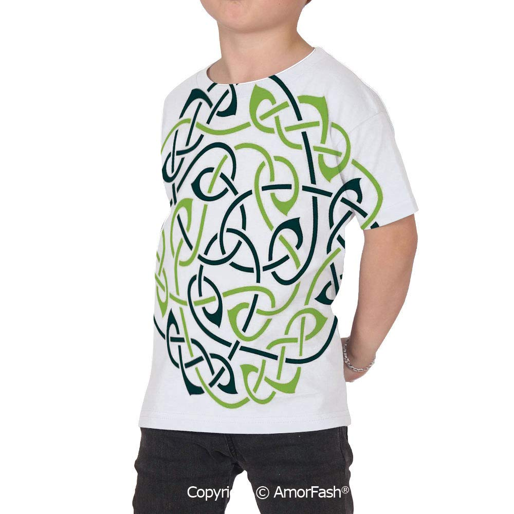 PUTIEN Celtic All Over Print T-Shirt,95/% Polyester,Childrens Short Sleeve T-ShirtDigit