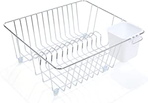 Smart Design Dish Drainer Rack - Small - In Sink or Counter Drying - Steel Metal Wire - Cutlery, Plates, Dishes, Cups, Silverware Organization - Kitchen (Chrome w/White Grip - 14 x 5.5 Inch)