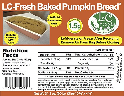 Low Carb Pumpkin Bread - Fresh Baked - LC Foods - All Natural - No Sugar - Diabetic Friendly - 31.8 oz