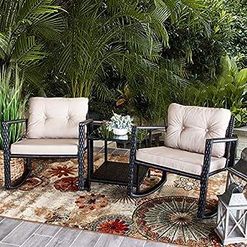 3e836024f51 Barton Patio Rocking Chair 3pcs Set Patio Wicker Rattan Bistro Furniture  Outdoor Rocker Chair Cushion w Glass Coffee Table Set