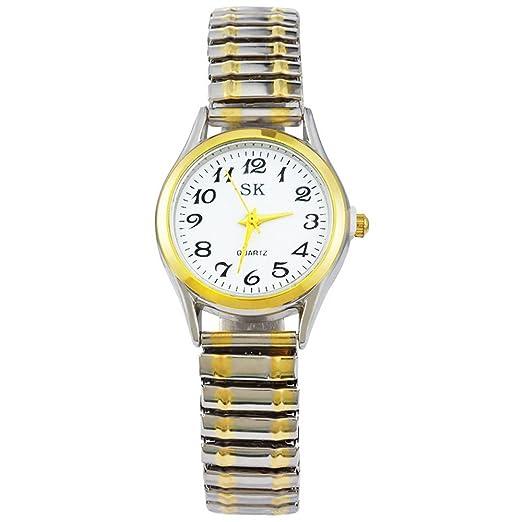 Reloj de pulsera analógico para mujer, en dos tonos (dorado