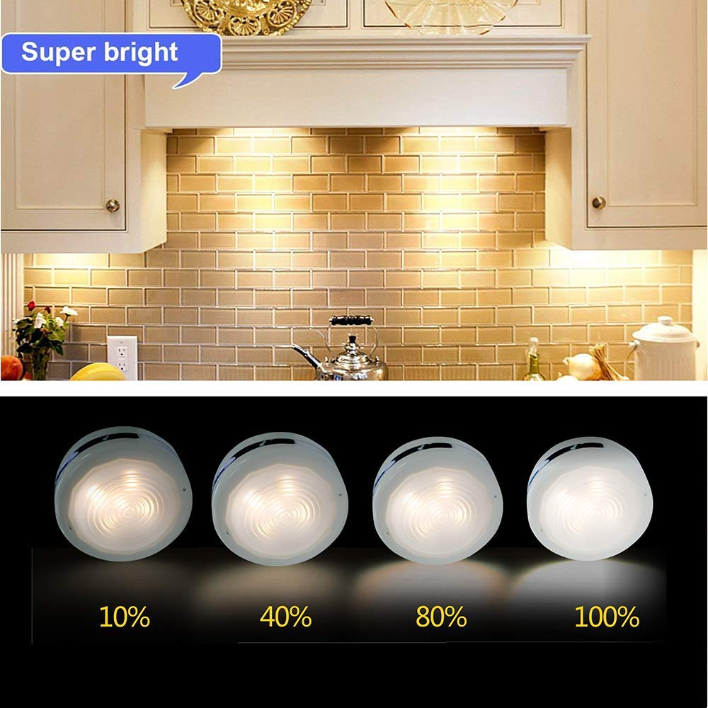 Puck Lights With Remote, Starxing Wireless Led Puck Lights Battery Operated, Led Puck Lights With Remote Control, Led Under Cabinet Lighting, Dimmable Closet Light, Battery Powered, 4000K Natural Whit by Starxing (Image #5)