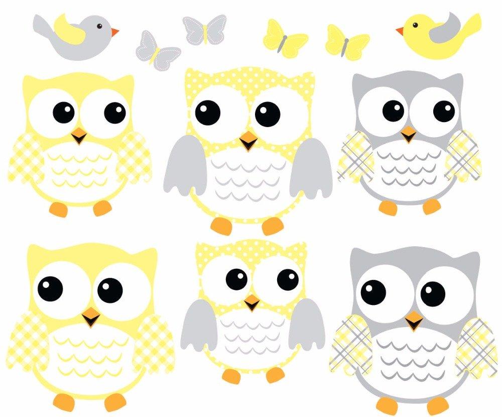 6 Conjunto de lechuza grasa Tatuajes de pared, Owl Wall Sticker ...