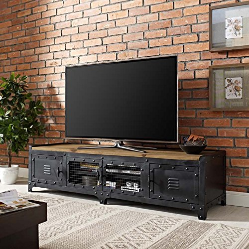 Modway Dungeon Industrial Pine Wood and Steel TV Stand In Black (Pine Stand Tv Wood)