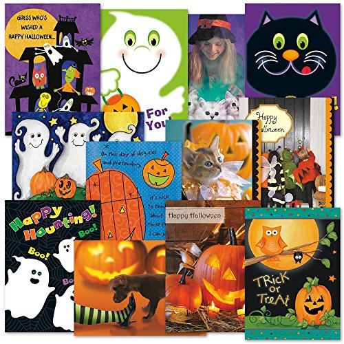 Photo Halloween Greeting Cards Value Pack- Set of 12 Holiday Greeting Cards with Envelopes, 12 Designs with Sentiments, for Trick or Treating, Party Favors