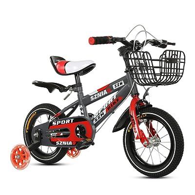 Vélo de montagne pour enfants 2-4 ans Kids Bike 12 pouces hommes et femmes poussette de bébé cadre en acier à haute teneur en carbone, Orange/rouge (Color : Red)