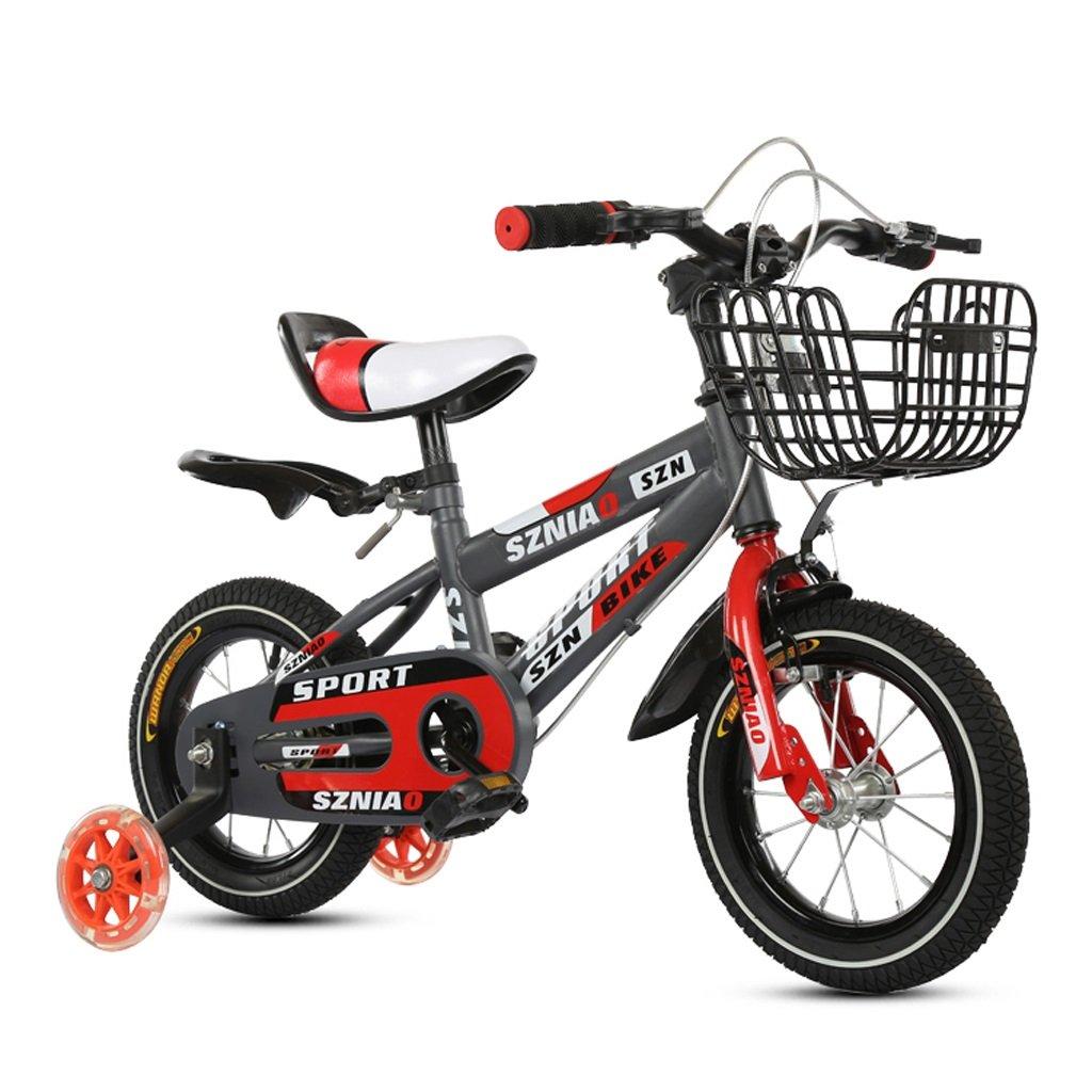 Kinder Mountainbike 2-4 Jahre Kinder Fahrrad 12 Zoll Männer und Frauen Kinderwagen High Carbon Stahlrahmen, Orange Rot (Farbe   ROT)